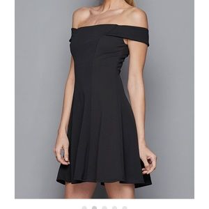 Black off the shoulder tease me dress